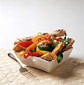 Assorted Sauteed Peppers with Bread Sticks