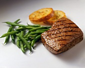 Grilled Beef with Green Beans and Sliced Red Potatoes