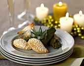 Greek Appetizers: Samboussak, Stuffed Grape Leaves and Spinach Stuffed Mushrooms in Phyllo