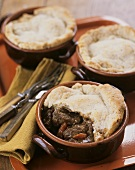 Three beef pot pies (USA)