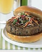 Hamburger with julienne vegetables