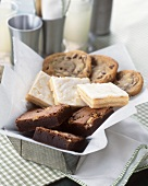 A Tin with Brownies, Lemon Squares and Chocolate Chip Cookies