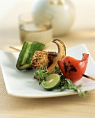 A Pepper, Onion and Tofu Kabob