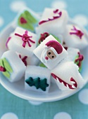 White sugar cubes with Christmassy decoration