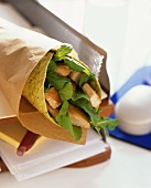 Wrap with chicken breast and salad leaves