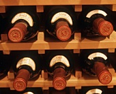 Red wine bottles in wine rack
