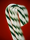Green and white striped candy canes