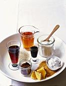 Various sweeteners: sugar, honey, syrup and molasses