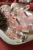 Peppermint milk shakes with candy canes for Christmas