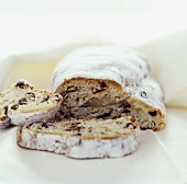 Stollen with two slices cut