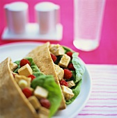 Pita breads filled with chicken and raspberry salad