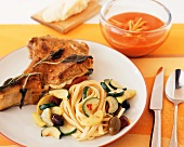 Veal Chop Stuffed with Taleggio with Vegetables and Fettuccini; Bowl of Tomato Carrot Soup