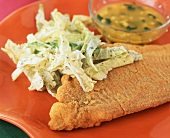 Crispy Fried Catfish with Coleslaw and Butter Dipping Sauce