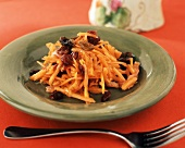 Carrot and Dried Fruit Salad on a Plate