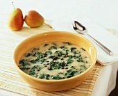 Stinging nettle soup with spring onions and capers