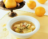 Lemon and chicken soup with wild rice