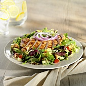 Green salad with grilled chicken breast