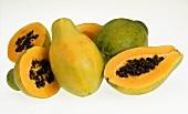 Papayas, whole and halved