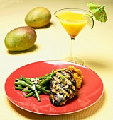 Grilled Chicken Breast with Green Beans; Mango Martini