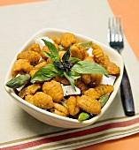 Sweet Potato Gnocchi with Asparagus, Fresh Mozzarella and Basil