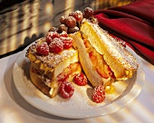 French toast with icing sugar and fruit filling