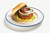 A Grilled Hamburger with Ketchup, Onions, Tomato and Lettuce