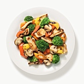 Chicken Stir Fry with Broccoli, Bell Peppers and Mushrooms