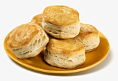 Buttermilk Biscuits on a Yellow Plate