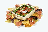 Mexican Multi-Layer Dip with Colorful Chips