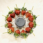 Fresh strawberries with chocolate dip