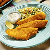 Deep-fried perch fillets with coleslaw and tartare sauce