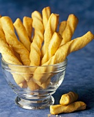 Cheese Twists in a Glass Bowl
