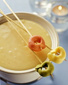 Cheese Fondue with Tortellini on Skewers