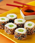 Sushi Shaped Ice Cream Treats with Chocolate Sauce