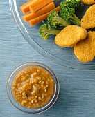 Chunky Sweet and Sour Dip with Chicken Nuggets and Raw Veggies