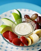 A Fruit Platter with Vanilla Yogurt Dip