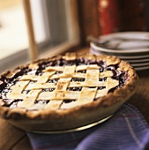 A Blueberry Pie with a Lattice Crust