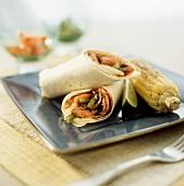 Fajita Wraps mit Rindfleisch, Maiskolben und Limette