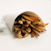 Spicy Potato Wedges Wrapped in Paper