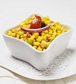 Corn Salad in a Square Bowl