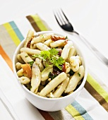 Pasta Salad on a Striped Cloth