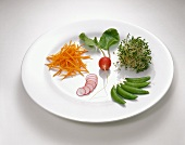 A Plate with Sliced and Whole Radishes, Carrot Sticks, Bean Sprouts and Sugar Snap Peas