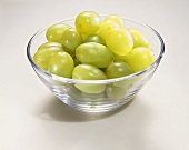 Green Grapes in a Glass Bowl on a White Background