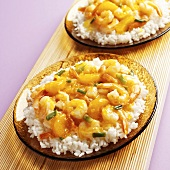 Orange Shrimp with Water Chestnuts and Scallion on White Rice