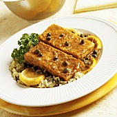 Tofu Piccata with Capers on a Bed of Rice with Lemons