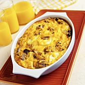 Soy Breakfast Casserole with Mushrooms, Yellow Squash, Cheddar and Mozzarella