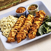 Grilled Chicken and Onion Skewers with Indian Masala, Chutney, Rice and Spinach