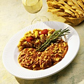 Tilapia in a Tomato Sauce with Pine Nuts and Pasta