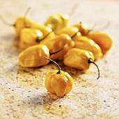 Yellow Habanero Peppers on Granite