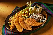 Southwestern Style Chicken Tenders with Corn Salad and Refried Beans